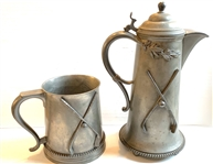 "CIRCA 1910 BEER STEIN 1 1/2 LITERS AND BEER MUG SIZE 5 1/2"" MADE BY MANNING BOWMAN & CO."