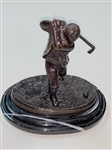 BRONZE STATUE ON A MARBLE BASE, CIRCA 1909 STAMPED G. REECE, 09.