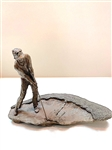 "SOLID BRONZE GOLFER RECOVERY SHOT SCULPTURE BY ARTIST MARK HOPKINS- 9-1/2"" WIDE AND 7"" TALL"