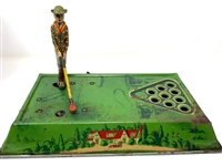 "CIRCA 1920S FERDINAND STRAUSS TIN PLAY GOLF GOLFER WIND UP TOY. LEGNTH 12"" WORKING CONDITION."