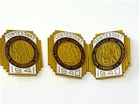 COLLECTION OF 3 CONTESTANT BADGES FROM 1941 -OHIO STATE UNIV. 1940-WINGED FOOT GC AND 1940 EKWANOK CC