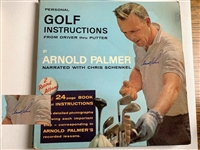 SIGNED BY ARNOLD PALMER GOLF INSTRUCTIONS RECORDED LESSONS WITH 24 PAGE BOOK OF INSTRUCTIONS.