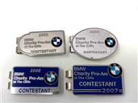 COLLECTION OF 4 CONTESTANT BADGES FROM BMW CHARITY PRO-AM AT THE CLIFTS