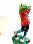 "VINTAGE WHIMSICAL GOLFING LARGE FROG, MEASURING 20"" HIGH WITH BASE 10"" X 9"""