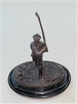 "ANTIQUE BRONZE GOLFER STATUE ON MARBLE BASE, CIRCA 1909. MEASURING 6-1/4"" WITH CLUB 7-3/4"""