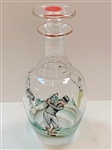 1920S ART DECO ENAMEL GLASS DECANTER WITH GOLF & TENNIS- HAND PAINTED