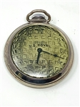 VINTAGE SILVER METAL U.S. ROYAL POCKET WATCH WITH GOLF MESH PATTERN THEME