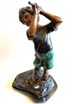 FRENCH BRONZE STATUE BY A. MOREAU, GOLFING BOY- LATE 19TH CENTURY