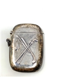 "CIRCA 1900S STERLING SILVER MATCH SAFE WITH GOLF MOTIF. MEASURING 2-1/4"" X 1-1/2"""