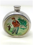 ENGLISH ROUND PEWTER PAINTED WITH A GOLF THEME. TRAVELING FLASK. CIRCA 1920S -30S
