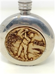 ENGLISH ROUND PEWTER & CARVED BONE TRAVELING FLASK, CIRCA 1920S-30S. STAMPED SHEFFIELD, ENGLAND