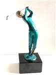 "SOLID ART DECO SCULPTURE OF GOLFER WITH PATINATED GREEN TONE. 11"" HIGH."