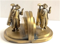 "C. 1950S BRASS CADDY BOOKENDS (VERY HEAVY). MEASURING 6-1/2"" HIGH"