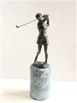 "VINTAGE EUROPEAN BRONZE STATUE OF FEMALE GOLFER. MEASURING 12-1/4"" ON 4-3/4 PEDESTAL"