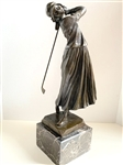 "SOLID BRONZE LARGE SCULPTURE OF A WOMAN GOLFER ON MARBLE BASE. VERY DETAILED. SIZE 19"" HIGH X 5"" BASE"