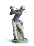 LLADRO PORCELAIN FIGURINE OF A GOLF PLAYER WITH SILVER PLATED STEEL CLUB