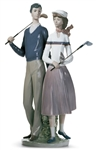 GOLFING COUPLE BY LLADRO CREATED IN 1983, RETIRED IN 1991. HEIGHT 13.5""