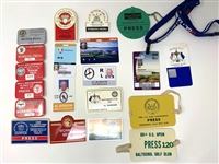 20 PRESS & MEDIA BADGES FROM VARIOUS TOURNAMENTS FROM AL BARKOW, AUTHOR & JOURNALIST