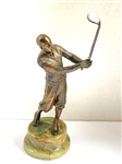 "SOLID BRONZE VINTAGE GOLFER ON THE GREEN SEMI PRECIOUS STONE PEDESTAL - 7.5"" X 2.75"""