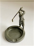 "ANTIQUE GREEN PEWTER ASHTRAY, MADE IN ENGLAND WITH GOLFER STATUE- 3.75"" TALL"