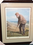FRAMED OLD TOM MORRIS LIMITED EDITION LITHOGRAPH HAND SIGNED AND NUMBERED BY ARTHUR WEAVER