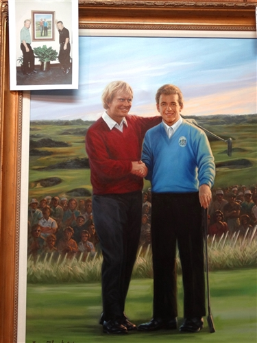 "ORIGINAL OIL PAINTING OF ""THE CONCESSION""- JACK NICKLAUS AND TONY JACKLIN, FAMOUS SPORTING GESTURE 1983 RYDER CUP BY THE LATE ARTIST HOEUN CHUNG- SIZE FRAMED 37"" X 47"""