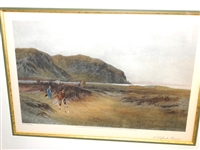 "EARLY LITHOGRAPH OF DOUGLAS ADAMS TITLED ""S DIFFICULT BUNKER"" PUBLISHED IN LONDON 1894"