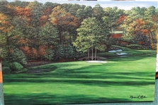 "ORIGINAL OIL PAINTING BY MARCI RULE OF AUGUSTA NATIONAL GOLF CLUB IN THE FALL OF THE 11TH HOLE - SIZE 24"" X 36"""
