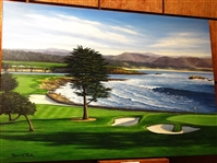 ORIGINAL OIL PAINTING OF PEBBLE BEACH 18TH HOLE BY MARCI RULE
