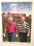 SIGNED BY ARNOLD PALMER AND JACK NICKLAUS LTD. EDITION LITHOGRAPH BY SCOTT MEDLOCK. FRAMED & SIGNED BY THE ARTIST.