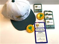 1996  PRESIDENTS CUP SIGNED BY ARNOLD PALMER, FRED COUPLES, AND PRESIDENT GEORGE H.W. BUSH HAT WITH BADGES AND TICKETS