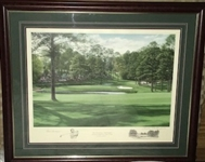 "GENE SARAZEN LITHOGRAPH No.567/850 OF 15TH HOLE "" FIRETHORN"" AT AUGUSTA NATIONAL GC BY LINDA HARTOUGH  FRAMED"