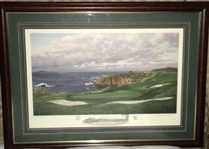 VERY RARE 2000 AP. No.87/100 OF US OPEN AT PEBBLE BEACH 8TH HOLE LITHOGRAPH BY LINDA HARTOUGH. FRAMED