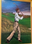 "ORIGINAL OIL PAINTING ON CANVAS OF HORACE RAWLINS PLAYING SHINNECOCK HILLS G.C., SIGNED BY LEIGH. SIZE 36"" X 48"""