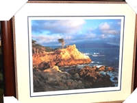 "PEBBLE BEACH ""LONE CYPRESS"", SOLD OUT PRINT BY JOANNE DOST- FRAMED"