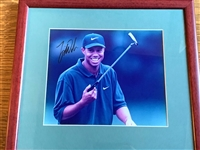 "SIGNED BY TIGER WOODS PHOTO 8"" X 10"" (TIGERS EARLY SIGNATURE), FRAMED"