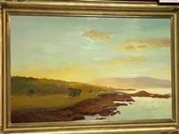 "CYPRESS POINT 17TH HOLE ORIGINAL OIL PAINTING BY MICHAEL MILLER, FROM THE ESTATE OF HARVIE WARD. 32"" X 48"""