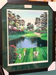 """16TH AT AUGUSTA"" HAND-PULLED SERIGRAPH ON PAPER BY MARK KING, SIGNED LIMITED EDITION #62/75. FRAMED 42"" X 50"