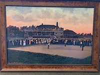 "EARLY MATCH AT PINEHURST, DONALD AND ALEX ROSS VS. HARRY VARDON AND TED RAY. CANVAS FRAMED 24"" X 36"""