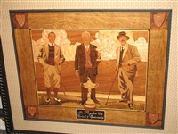 "RYDER CUP ONE-OF-KIND ORIGINAL EUROPEAN INLAID MARQUETRY - WALTER HAGEN, SAMUEL RYDER AND ABE MITCHELL. SIZE 24"" X 29"""