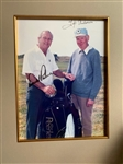 ARNOLD PALMER, SIGNED WITH HIS BRITISH CADDY TIP ANDERSON ALSO SIGNED BY TIP