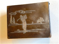 "STERLING ON BRONZE CIGARETTE BOX, MADE BY HEINTZ ART METAL CIRCA 1910S,WOOD INCERT. 4.5"" X 3.5/8"""