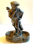 "METAL ANTIQUE GOLFER STATUE WITH DOUBLE TRAYS ON EACH SIDE, 11"" TALL"