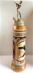 "VERY RARE LARGE GERMAN KNICKERBOCKER BEER STEIN 1940 TROPHY WITH PEWTER GOLFER ON TH TOP. 16"" TALL"