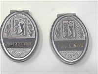 SET OF TWO BADGES/MONEY CLIPS FROM PGA TOUR, DAVE STOCKTON AND PAUL AZINGER