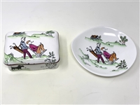 VINTAGE STAFFORDSHIRE ENAMEL BOX WITH MATCHING DISH AND GOLF SCENE. EACH ITEM IS NUMBERED.