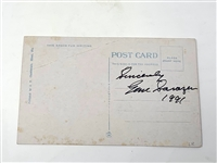 "GENE SARAZEN SIGNED POST CARD SHOWING ""TEEING OFF"", CORAL GABLES, FLORIDA AT GOLF LINKS"