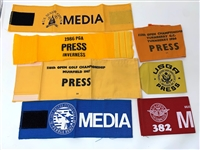 COLLECTION OF 7 MEDIA ARM BADGES FROM VARIOUS CHAMPIONSHIPS FROM AL BARKOW