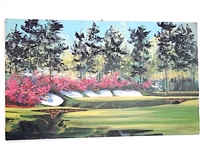 AUGUSTA NATIONAL GOLF CLUB 12TH HOLE BY MALCOLM FARLEY, ARTIST ENHANCED CANVAS GICLEE
