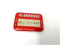 1974 MASTERS TOURNAMENT CLUBHOUSE BADGE FROM ED CARTER, PGA TOURNAMENT DIRECTOR
